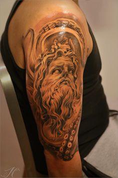 Greek themed arm tattoo by Noah