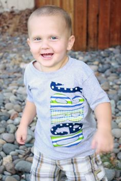 Definitely need this for my kiddo: Toddler Boys Personalized NAME Shirt - Gray, Blue Green Pattern Fabric Letters. $28.00, via Etsy.
