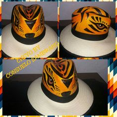 Sombrero pintado a mano tigre Carnaval de Barranquilla Painted Hats, Fabric Bags, Fabric Painting, Hobbies And Crafts, Beret, Caps Hats, Spring Fashion, Projects To Try, Zara