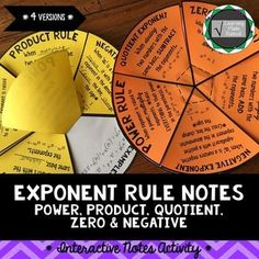Exponent Rule Notes - Power, Product, Quotient, Zero and Negative A very fun and creative way to take notes for exponent rules - power, product, quotient, zero and negative! These notes can be completed and turned into 4 different versions. There are suggested directions along with page numbers in which you can create the 4 different versions.