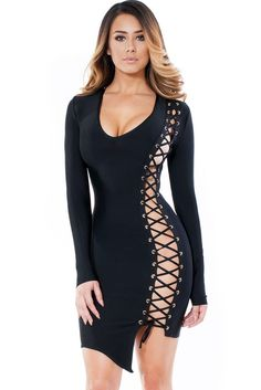 2017 new women sexy mini full sleeve v neck side split beading celebrity bandage  dress elastic club party dress drop ship f4121056d
