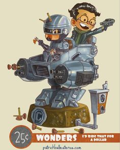 regram @patrickballesteros Halfway to the weekend here's a little something Wonderous to help you through the home stretch. Lets just say these kids love playing bad cop/ good cop.  Coming to @designercon 2015 this November!  #robocop #patrickballesteros #25centwonders #designercon #dcon2015 #dcon