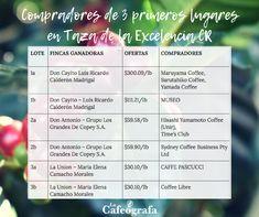 La lista completa con TODOS los finalistas y sus compradores, ¡en mi blog!  #coffeeblog #cafédeCostaRica #CoE2018 #specialtycoffee Map, Blog, Coffee Store, Mugs, Location Map, Blogging, Maps