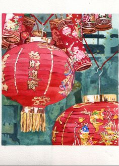 watercolor/watercolour painting of beautifully vibrant lanterns against an aqua blue background, with cherry blossoms painted on them. I think they're Chinese lanterns, but forgive me if I'm mistaken. Chinoiserie, Illustrations, Illustration Art, Watercolour Painting, Watercolors, Copics, Chinese Art, Chinese Food, Paper Lanterns