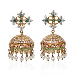Earrings | White Pearl Beads Silver Jimmiki | GRT Jewellers