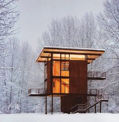 modern cabin in the woods