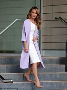 Britain's Got Talent's Amanda Holden gets it right in lilac coat and white dress at auditions | Daily Mail Online