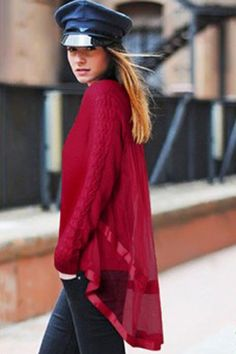 Red Ribbon Tulle Back Overlay Pullover Sweater