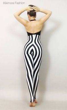 Stripe Circus Bodysuit Costume High Waist I Jumpsuit Dancer Performer Outfit Leotard Gym Yoga Lycra Open Back - Dance Leotards Catsuit Costume, Bodysuit Costume, Aerial Costume, Circus Outfits, Black And White Fabric, Black White, Color Black, Circus Costume, White Fabrics