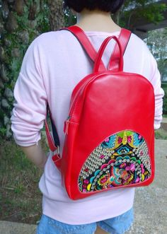 On Sale : Boho Leather Backpack - Embroidery Backpack - Leather Bag - Ethnic Rucksack - Hipster Backpack ( FREE SHIPPING WORLDWIDE )