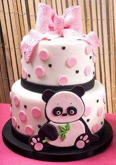 Panda Cake With Pink Ribbon Panda Birthday Cake, 40th Birthday Cakes, Order Cakes Online, Cake Online, Panda Cakes, Baby Girl Cakes, Pink Panda, Cake Delivery, Fondant Figures
