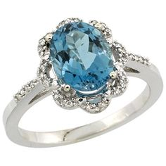 Sterling Silver Diamond Halo Natural London Blue Topaz Ring Oval 9x7mm 716 inch wide size 10 -- More info could be found at the image url.