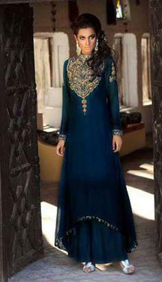 Modern look. I love this color! Pakistani Outfits, Indian Outfits, Ethnic Outfits, Churidar, Salwar Kameez, Sharara, Eastern Dresses, Desi Clothes, Indian Clothes