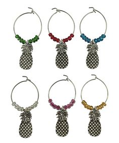 Look what I found on #zulily! Multicolor Pineapple Wine Charm - Set of Six #zulilyfinds