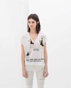 V Neck Mesh Mosaic Beautiful Letters Printed T Shirt [3090] – Obuzu