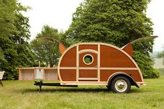Tear drop trailers were originally designed in the 1930s and 1940s when car trips became a popular means of vacation travel.  Modern versions are a practical means of cheap travel.