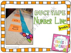 Duct Tape Number Line *FREEBIE* from frogsandcupcakes on TeachersNotebook.com -  (6 pages)  - Make your own duct tape number line to help students learn about number lines and comparing and ordering numbers. This freebie includes number cards for your number line (0-120).