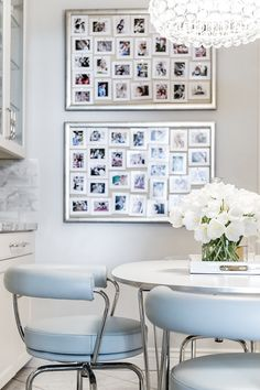 Polaroid snapshots are informal and fun for everyone in the family—especially my 3- and 6-year-old children. I love displaying mine on silver leaf bulletin boards from Ballard Designs