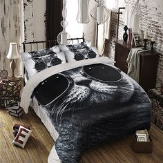 MeMoreCool Fashion Cat with Glasses Coral Fleece Bedding Sets Cool Cat Duvet Cover Boys and Girls Bed Sheets Fade, Stain Resistant – 3 Pieces (Twin,Black)