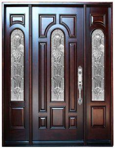 Natural Mahogany Prefinished Solid Wood Prehung Front Door – Home Decor Wood Entry Doors, Wood Exterior Door, Wooden Front Doors, Front Door Entrance, Rustic Exterior, Front Entry, Exterior Design, Front Door Design Wood, Door Gate Design