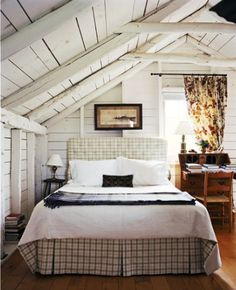 simple bedroom with clapboard walls & roof.