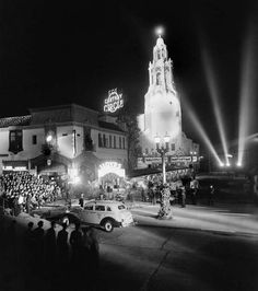 """Twentieth Century-Fox really turned on the works for the premiere of """"Lloyds of London"""" by holding it at one of the most popular theaters in LA, the Carthay Circle, which was always able to endow the night with enormous glamour. It was also a big night for Tyrone Power—it was his big break, and the role of Jonathan Blake was the one that made him a star. (November 25, 1936)"""