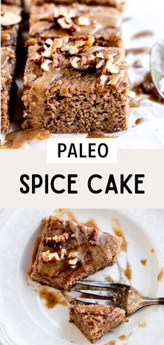 Paleo holiday recipes are a must! This paleo spice cake is so delicious and perfect for the holiday season. It's made with gluten free coconut flour and topped with crunchy pecans and a dairy free cinnamon maple glaze. It's so good! This spice cake is the perfect fall and paleo winter recipe. Click through to see the recipe, and don't forget to pin this to your best paleo recipes board! #simplyjillicious #cake #fall #dessert #glutenfree #dairyfree #paleo #holiday Paleo Cake Recipes, Gluten Free Desserts, Dairy Free Recipes, Delicious Desserts, Snack Recipes, Dessert Recipes, Holiday Desserts, Holiday Recipes, Baking With Coconut Flour