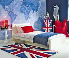 British Invasion: 24 Union Jack Furniture and Decor Ideas there's a Union Jack mini fridge!!!