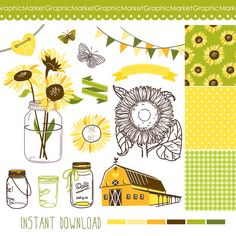 Sunflowers, Mason Jars and digital papers - Clip art for scrapbooking, barn wedding invitations, Rustic farm, Southern, Small Commercial Use...