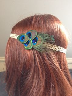 Elastic lace headband with peacock feathers and rhinestones, handmade jewelry