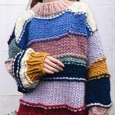 Loose Lazy Wind Big Thick Line Knit Pullover Handmade Sweater Knitwear Fashion, Knit Fashion, Pull Crochet, Knit Crochet, Knitting Designs, Knitting Patterns, Chunky Knitwear, Knit Cardigan Pattern, Pulls