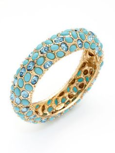 Kenneth Jay Lane  Turquoise Cabochon & Crystal Hinged Bangle  $118