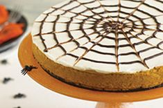 Gâteau au fromage à la citrouille en toile d'araignée