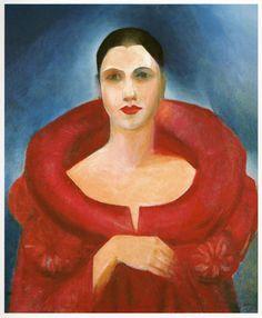 Tarsila do Amaral -Autorretrato con abrigo rojo (1923). Exótico y refinado. Segundo viaje a París.