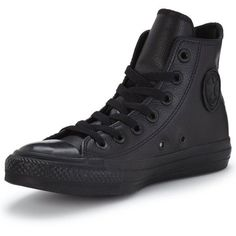 Converse Chuck Taylor All Star Leather Hi-Top Plimsolls ($86) ❤ liked on Polyvore featuring shoes, sneakers, converse high tops, leather high top sneakers, leather sneakers, black canvas sneakers and black high-top sneakers