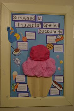 A dessert themed stress avoidance board which is totally rad for communicating information Health Bulletin Boards, College Bulletin Boards, Halloween Bulletin Boards, Counseling Bulletin Boards, Candy Bulletin Boards, College Board, Ra Programming, Ra Themes, Ra Boards