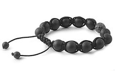 "10mm Stone Bead DISCO BALL Matte Onyx Black Crystal Silver Black String Bracelet THE ICE EMPIRE. $29.95. CLASP: MANUAL TOGGLE. LENGTH: 7""-10"" ADJUSTABLE. STONE: MATTE ONXY, BLACK CRYSTAL SILVER BALL. A MUST HAVE FOR ANY BRACELET COLLECTON!. BEAD SIZE: 10MM"