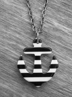 Black & White Striped Anchor Necklace by Ink & Roses 13