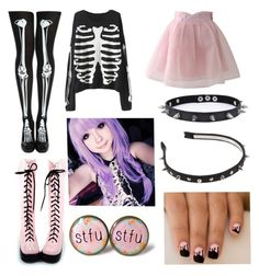 """""""pastel goth #14"""" by ironically-a-strider21 ❤ liked on Polyvore featuring Chicwish, Trend Cool, women's clothing, women, female, woman, misses and juniors"""