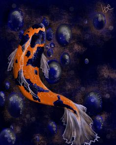 Koi represent peace and prosperity. They symbolize a transformation of the spirit, independence, potential, and adaptation. Look for new opportunities and take advantage of them. A fish swimming down symbolizes the involution of spirit, while a fish swimming up is the evolution of the spirit.
