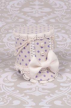 Mini Shako Hat in Lavender Dots