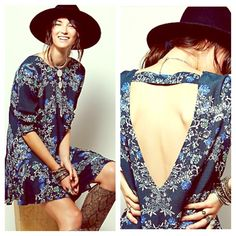 FREE PEOPLE Floral Cape Tunic Cocktail Dress NWT NWT AND STUNNING! Emerald Combo.  Free People Dresses Mini