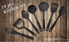 14 pcs kitchen multi tong peeler greater opener 2016 New 14pcs/Lot Oil Spray Cozinha Cucina 100% Food Grade Kitchen Tools Black Heat Resistant Cooking Utensil Set Non-stick