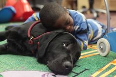 Javary Howard, a 7-year-old who weighs only 30 pounds, snuggles with his new guide dog, Pesto, at Central Library in Aurora, Colo. Javary suffers from a rare condition that causes growth defects and extremely flexible joints, and his 5-year-old brother has autism, so both are being home-schooled at the library.