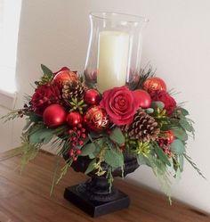 Christmas Centerpiece - Red Silk in Black Urn