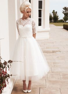 Wedding Dresses - $147.66 - A-Line/Princess Scoop Neck Tea-Length Tulle Lace Wedding Dress With Bow(s) (0025058921)
