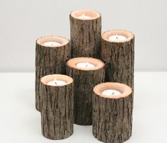 Tree Branch Candleholders By Worley's Lighting | would be beautiful to put inside of a non-working fireplace.