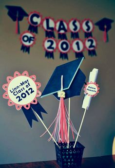 Graduation Party Decorations Centerpiece CUSTOM by bcpaperdesigns Graduation Party Centerpieces, Graduation Decorations, Graduation Celebration, Graduation Cards, Preschool Graduation, Grad Parties, Party Gifts, Party Planning, Party Time