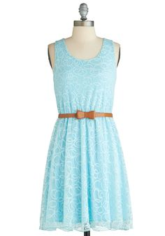 Swirls Will Be Swirls Dress - Mid-length, Blue, Belted, Daytime Party, A-line, Sleeveless, Spring, Graduation, Scoop