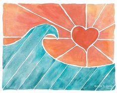 Surf Art - Beach Art - Waves - Coral Skies Art Print - Coral - Hearts - Sunrise - Kitchen Art - Bathroom Art on Etsy, $18.00